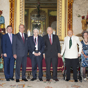 His Royal Highness Prince Philip, the Duke of Edinburgh, welcomes 2011 Templeton Prize Laureate Martin J. Rees and seven other Templeton Prize Laureates to Buckingham Palace
