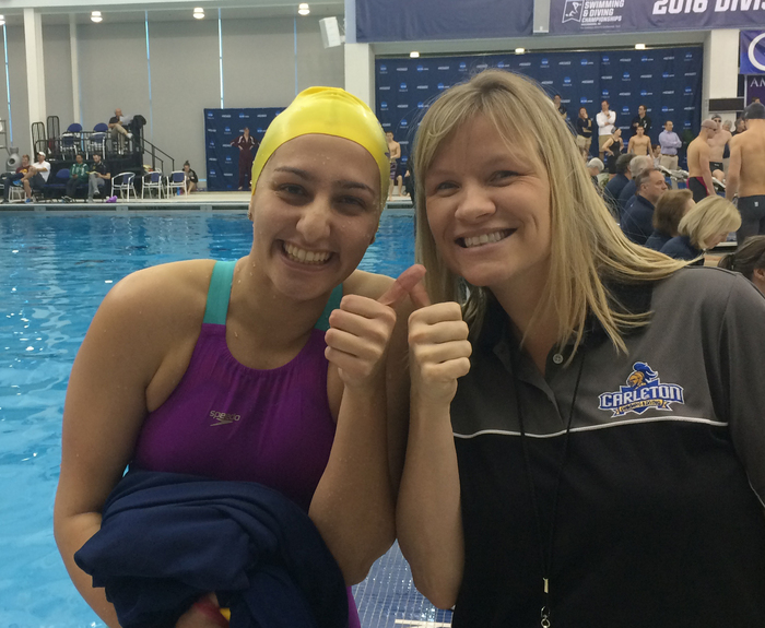 Maria Wetzel with Associate Head Swimming & Diving Coach Brooke Plotz