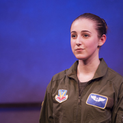 Alexandra Pozniak '18 rehearses for Grounded, a one-woman show on life of a headstrong F16 fighter pilot.