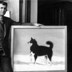 "Gould with a portrait of ""Al Smith,"" his favorite sled dog from 1928-30."