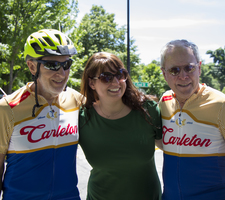 """Memory Riders"" Bill Solberg and Lee Jones with Maggie Patrick, director of the Alumni Annual Fund."