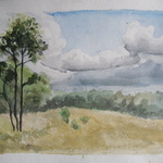 Watercolor of field in the arboretum by Lindsey Nietmann '09
