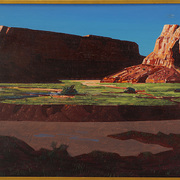 "1948 painting titled ""Twin Buttes"" by artist Conrad Buff II in the Carleton College Art Collection."