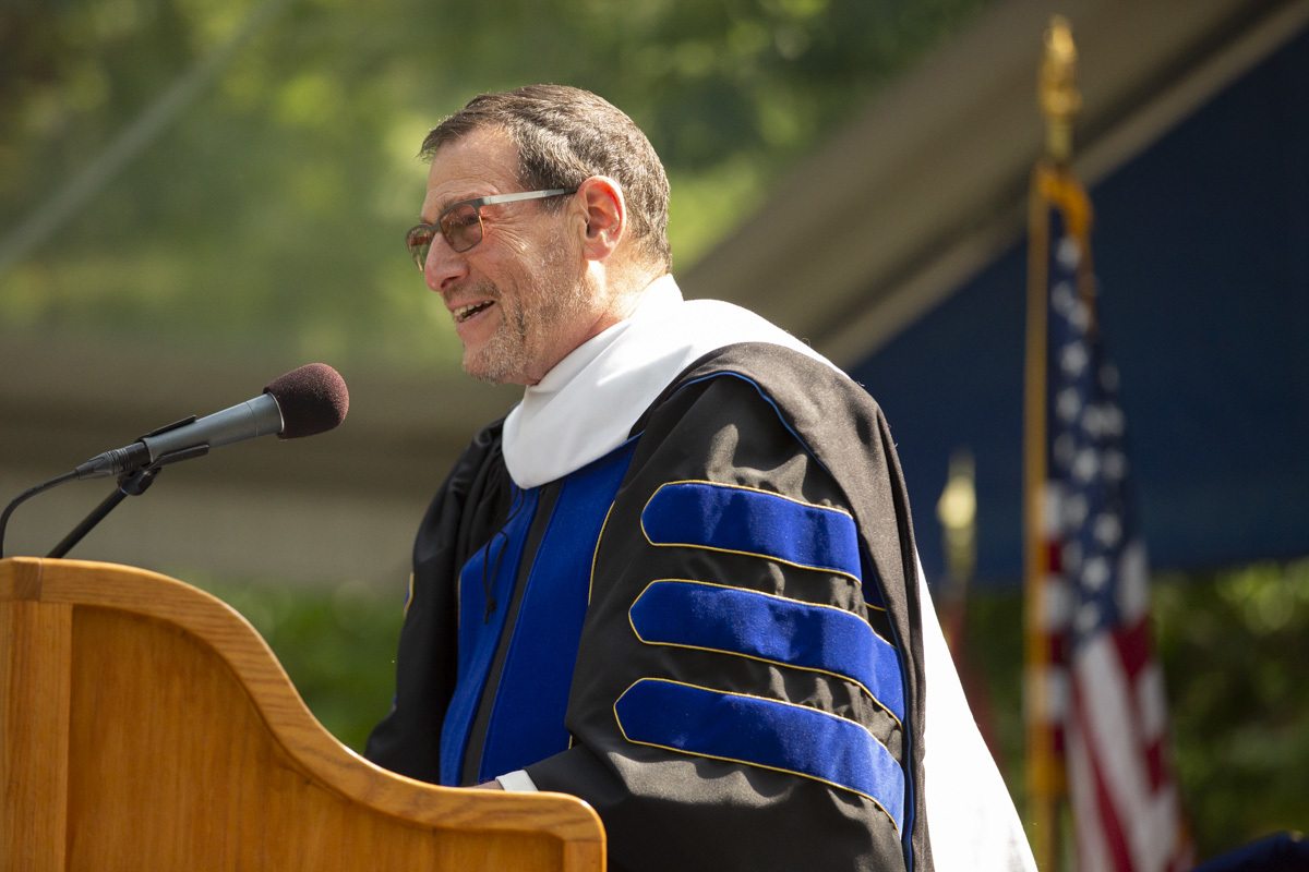 Former U.S. Ambassador Jimmy Kolker '70 speaks at commencement.