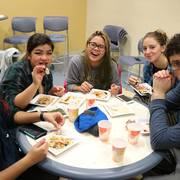 Many students were satisfied with their sushi rolls.
