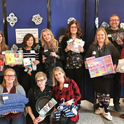 Student Life staff with donations