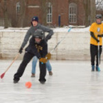 Broomball Action, St. Olaf Rec Staff vs. Carleton Rec Staff