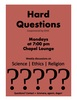 Hard Questions Discussion Group Winter 2019