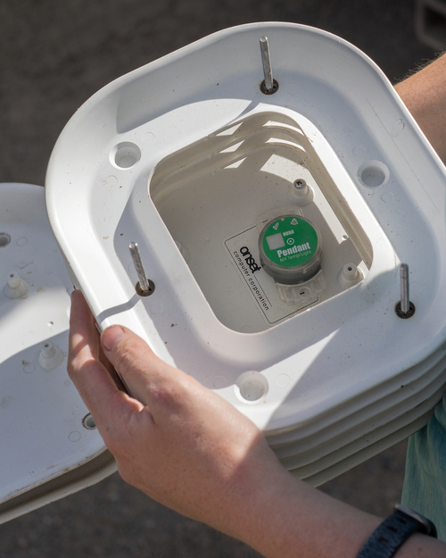 Zillig removes a data logger from its protective solar shield