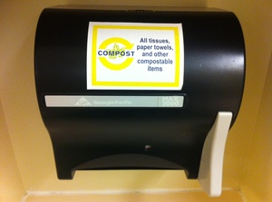 Please place paper towels into the bathroom compost receptacles!