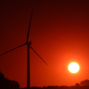 Sunrise over Carleton's wind turbine