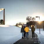 Students brave the cold on campus.