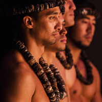 Side image of 4 male dancers from Hawaiian dance troupe Halau Kaiwekupono O Ka Ua onstage.