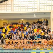 The Carleton swim team and supporters pose after the 2012 Hour of Power relay.