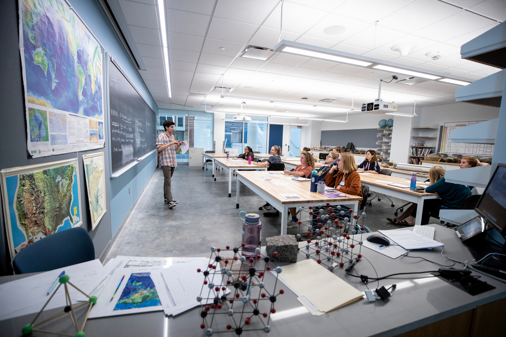 Students in classroom in Anderson Hall