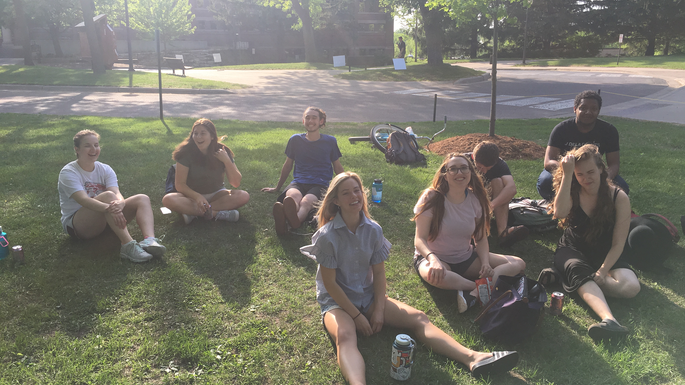 Religion majors at annual Religion picnic May 2018.
