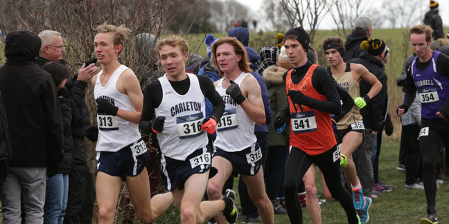 (L to R) Tris Dodge, Lucas Mueller, and Cameron Meikle lead the pack at the NCAA regional race.