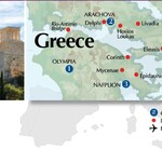 Ancient Greece, itinerary map