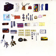 """Everything in her bag"" by artist Elise Engler"