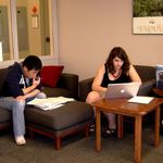 Students studying in the Language Center Lounge.