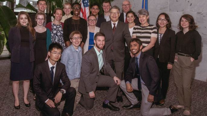 Washington DC Seminar students with Sen. Al Franken