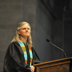 College chaplain Carolyn Fure-Slocum delivers the Salutatory at Opening Convocation.