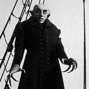 "Black & white still from the classic horror film, ""Nosferatu."""