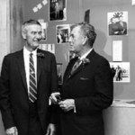 Chatting with his successor, President John W. Nason, at a reception in Gould's honor, fall 1966.