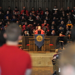 President Poskanzer delivers a welcome address at Opening Convocation.