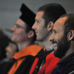 Members of the Carleton faculty listen to the Opening Convocation Address, given by Jimmy Kolker '70.