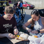 Caleb Braun '17 and JordiKai Watanabe-Inouye '17 could not wait to taste their food.