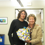 Receiving going away gift from Prof. Linda Burdell