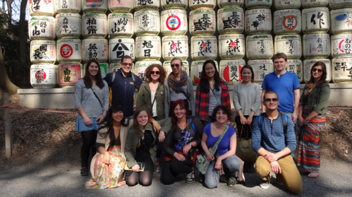 Kyoto 2014 students visiting the Meiji Shrine.