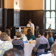 Saul Melo Lira '18 speaks at the 2018 CCCE Community Appreciation Luncheon