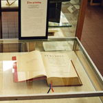 A Holy Bible on display as part of the Fine Printing exhibit.
