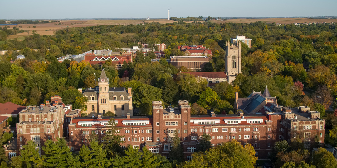 An aerial view of the Carleton College campus.
