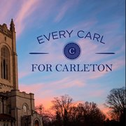 "Exterior image of Skinner Memorial Chapel with text: ""Every Carl For Carleton."""