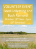 Seed Collecting and Bush Removal Volunteer Event Poster October 2019