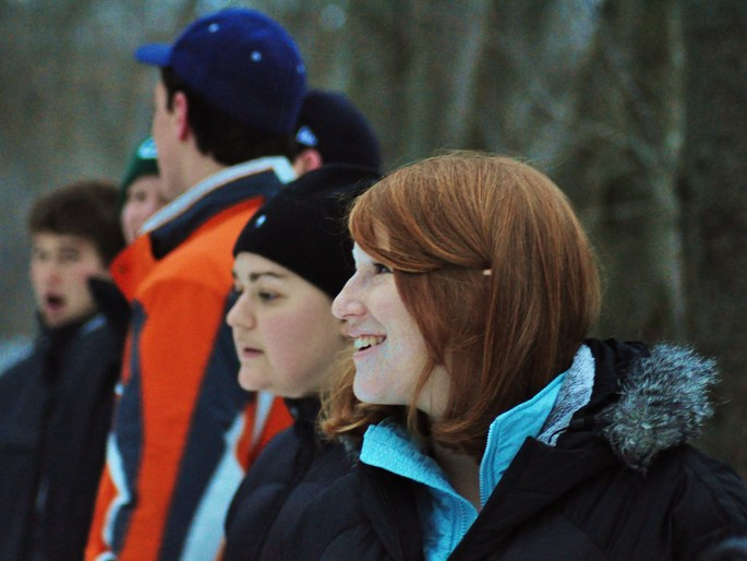 Carleton students enjoy a winter Owl Walk in the Arb.
