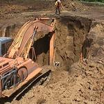 digging turbine foundation