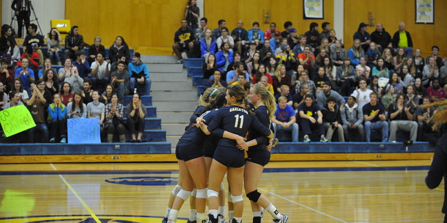 Carleton College Volleyball Team Huddle