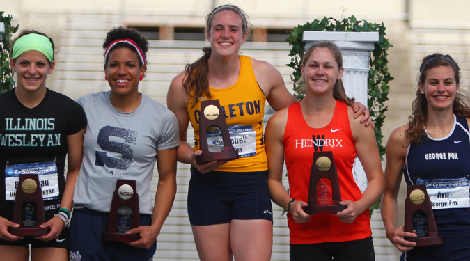 Amelia Campbell '16 celebrates her heptathalon national title at the 2014 NCAA Championship Meet.
