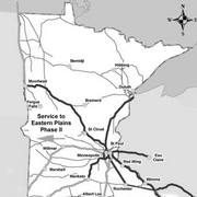 The proposed routes of the intercity passenger rail line, connecting Northfield to the twin cities.