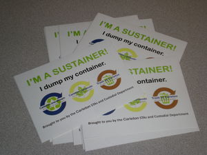 """I'm a Sustainer"" stickers for faculty and staff personal waste receptacles."