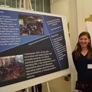 Students share their internship experiences at a poster session.