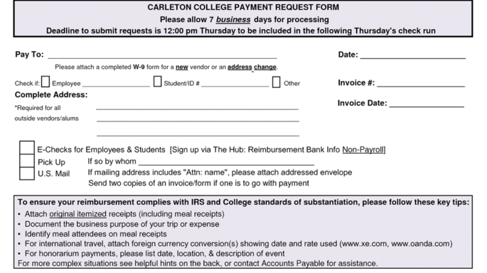 Payment Request Form