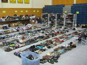 Rows and rows of shoes at Lighten Up
