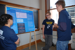 Economics students explain their findings a Research Assistant during the Research Symposium.