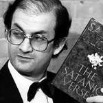 Salman Rushdie with Satanic Verses