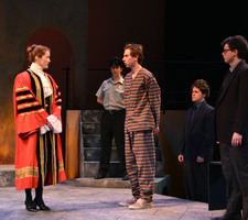Carleton Players rehearse the Merchant of Venice before performing on February 16, 2017.